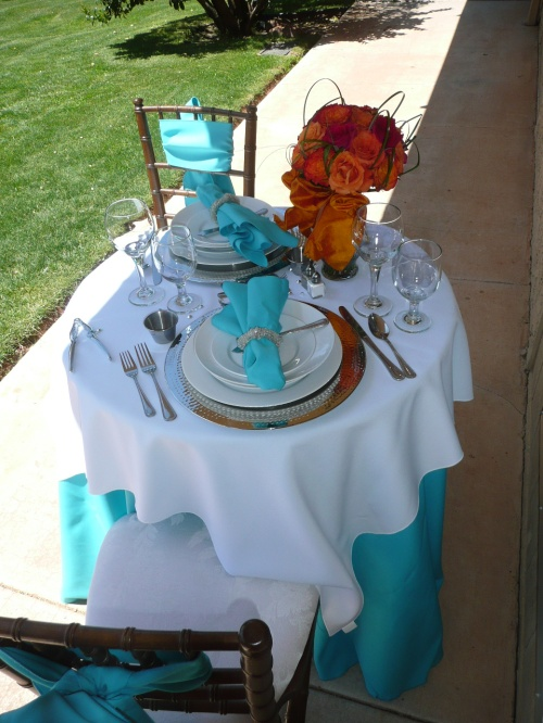 Elegant Table Setting with Custom Linens by Verde Valley Rentals