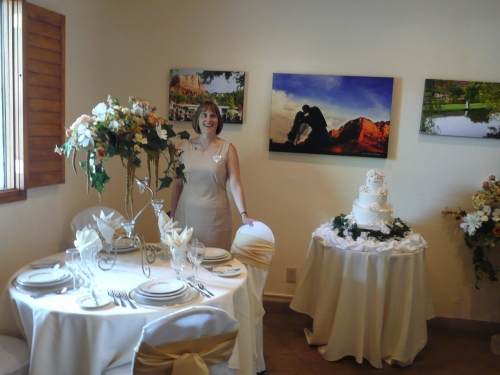 Catering Sales Manager, Jill Kyriakopulos, in the Bridal Room at Resort