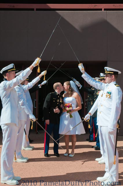 Our wedding couple exiting the church with style! Photo by Pamela Duffy Photo