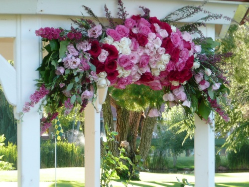 Lovely Floral Arrangements on the Golf Course Gazebo