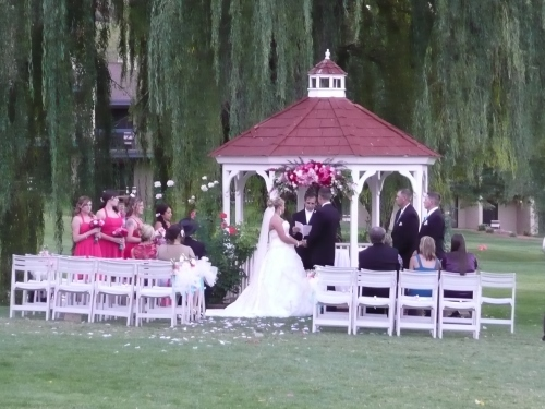 Golf Course Gazebo Ceremony beneath the weeping willow
