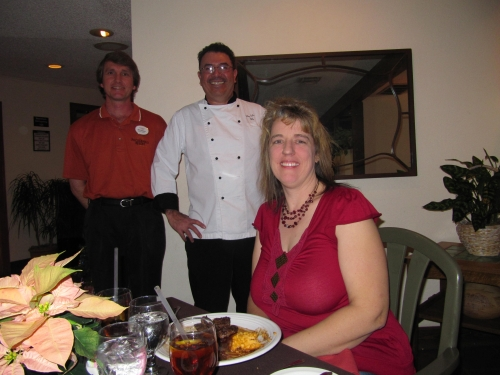 Banquet Captain Eric Johnson with Chef Felipe and Nancy