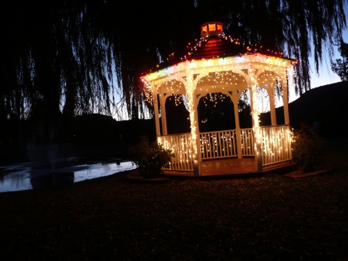 Variety of Holiday Lighting on the Golf Course Gazebo