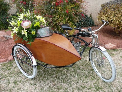 Motorized Bike with Side Car Decorated by Mountain High Flowers
