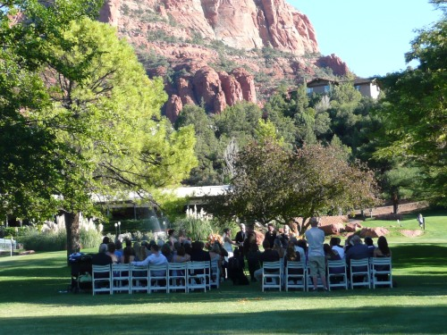Wedding Ceremony with Red Rock View