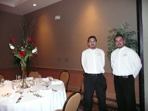 Banquet Server Dario (left) with Banquet Captain Javier