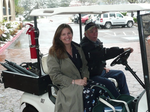 Susan Perry receives a ride to the bridal suite by Poco Staff Member Dave Cooper