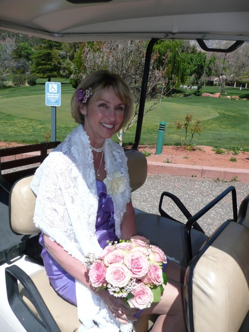 Our Lovely Bride Tish, on her way to the Ceremony Site