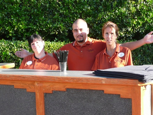 Javier, Banquet Captain (center) with Hollie (on right) and Suzen (left) - Ready to Serve Our Guests