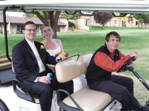 William Schuessler Drives our Lovely Couple to the Wedding Reception Site