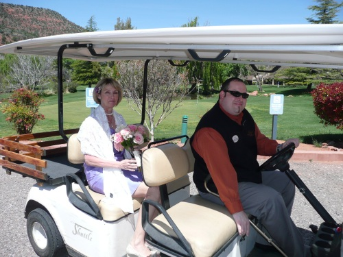 Front Office Manager Vincent Corona Driving Our Bride to the Golf Course Gazebo for her Wedding Ceremony