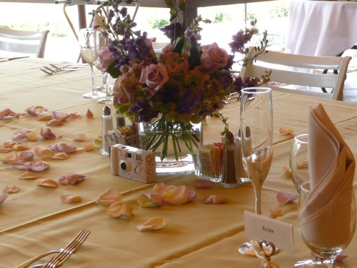 Lovely Floral Decor on the Reception Table Created by Bliss Extraordinary Floral