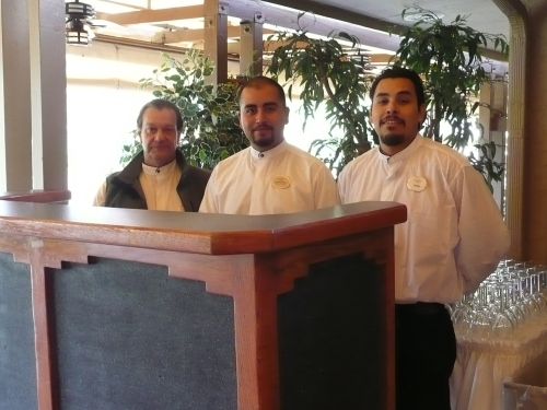 Banquet Staff Waiting for the Arrival of the Wedding Guests - left to right: John, Javier and Dario