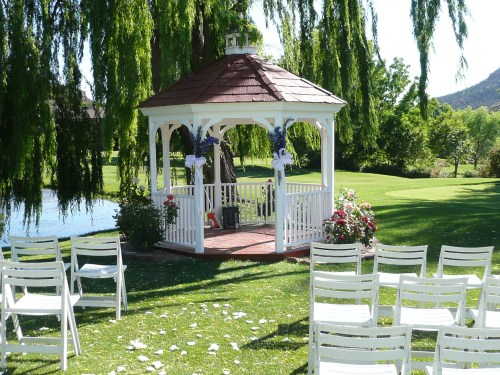 The Golf Course Gazebo Decorated Prior to the Ceremony