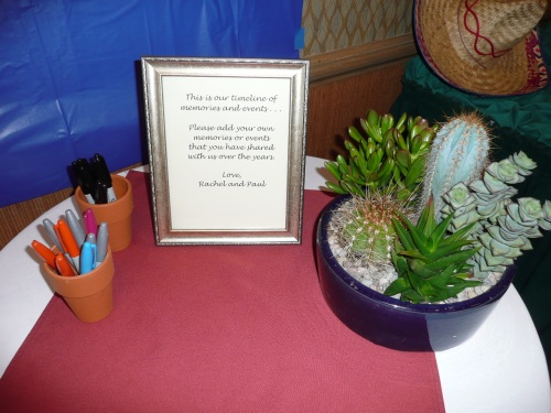 Guests were invited to Sign the Timeline. Southwestern Centerpieces were made by Bliss Extraordinary Floral.
