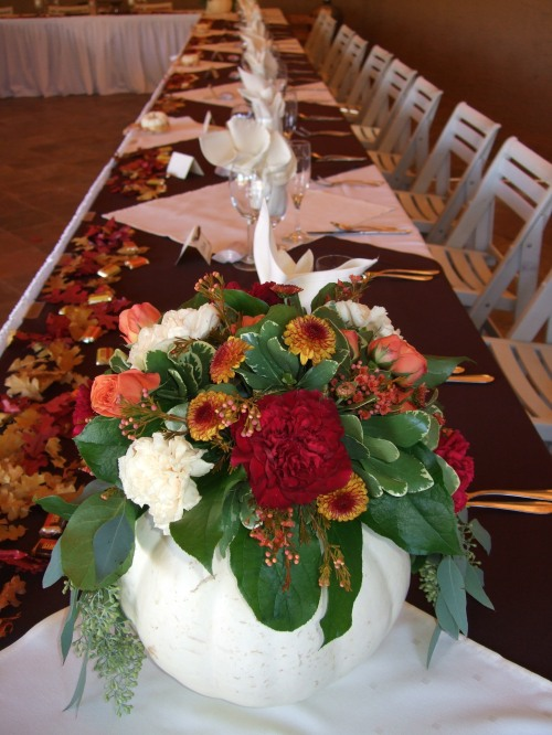 The Unique White Pumpkins with Autumn Floral