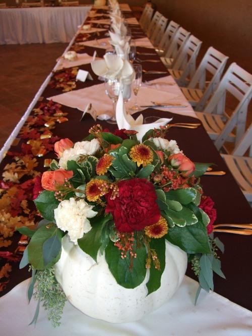 The Unique White Pumpkins with Autumn Floral