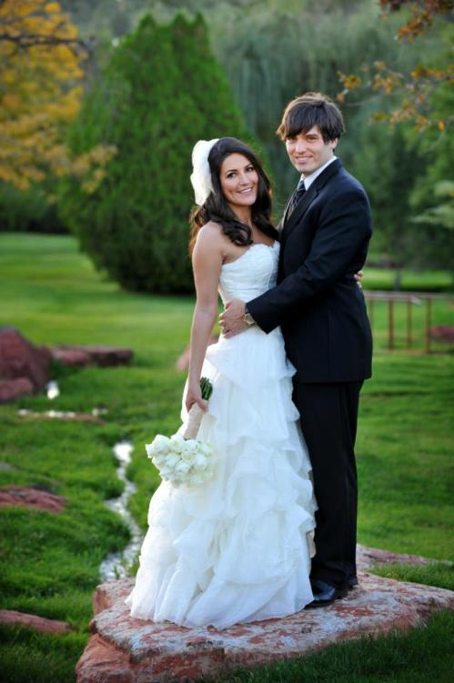 Lovely Wedding Portrait in a lush setting.
