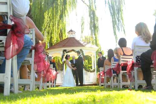 Intimate Wedding Ceremony at the Golf Course Gazebo - Photo by Sierra Blanco Photography