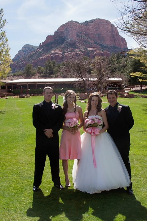 The Bridal Party with the Red Rocks of Sedona in the Background