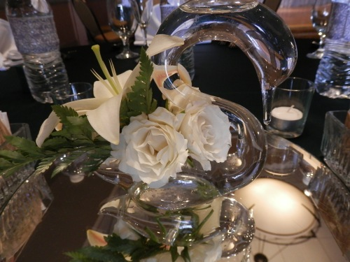 Crystal Swan Centerpieces with Fresh Flowers