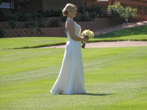 Our Lovely Bride Approaching the Gazebo