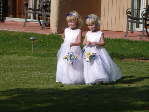 Cute Flower Girls Help Out at the Wedding
