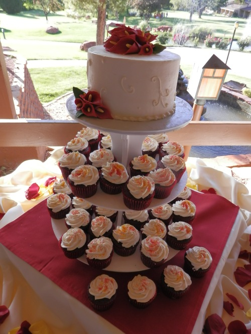 Wedding Cake and Cupcakes Created by Donna Joy, Sedona Sweet Arts