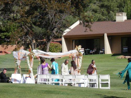 Setting up the Wedding Mandap