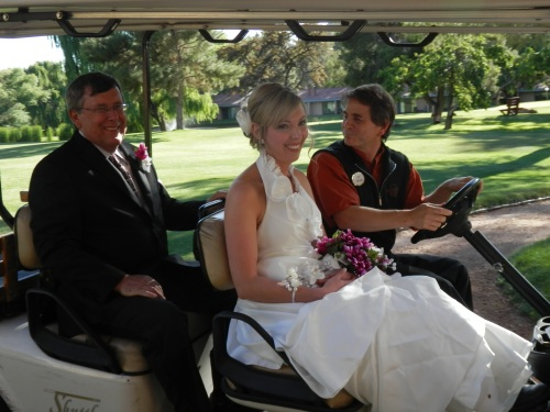 Our concierge William is helping CassieMarie and her father with a ride to the ceremony site