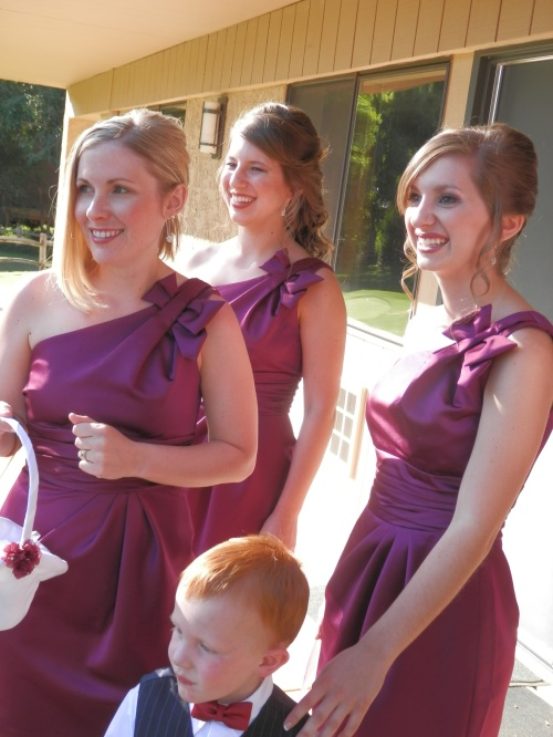 Bridesmaids and Ring Bearer Watching as CassieMarie departs for the Ceremony