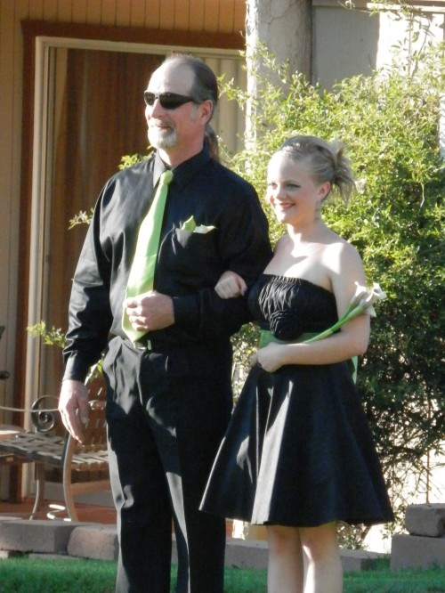 Bridesmaids and Groomsmen wore Lime Green and Black, The Wedding Colors which were great