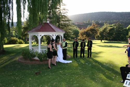 Gazebo Wedding Ceremony beneath the Weeping Willow Tree
