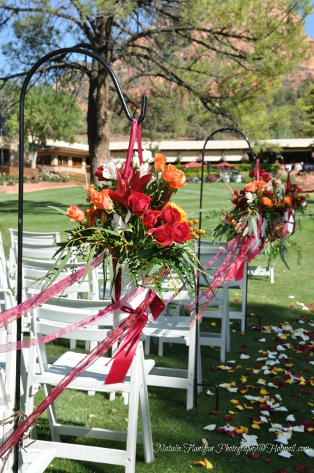Summer Wedding Ceremony on the Golf Course - Floral arrangements by Bliss Extraordinary Floral