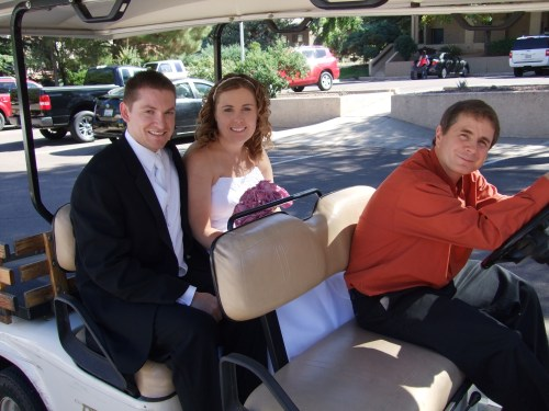 William Schuessler Offering a Ride to our Bridal Couple