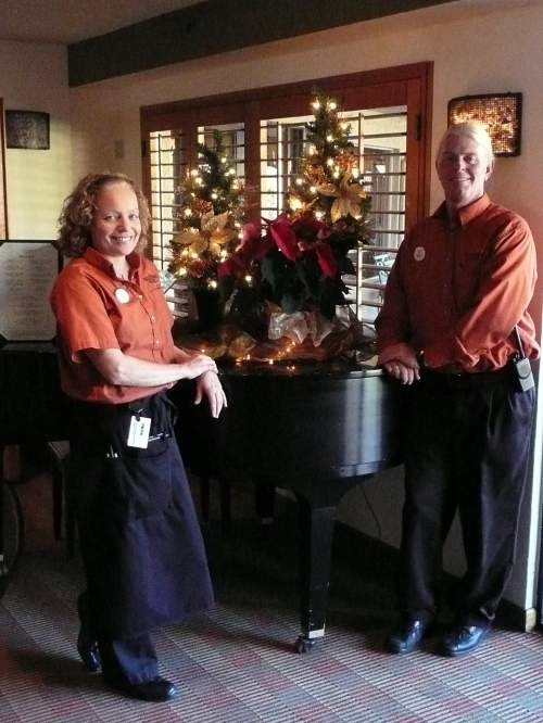 Carol and Niklas Greeting Restaurant Guests