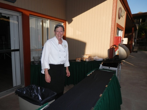 Patty Preparing the Food for our Splash Theater by the Pool
