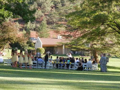 Bridesmaids wore Yellow and Orange - Waiting for the arrival of Monica and her Father