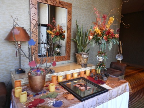 Sign In Table with Personalized Photograph and Floral Arrangement