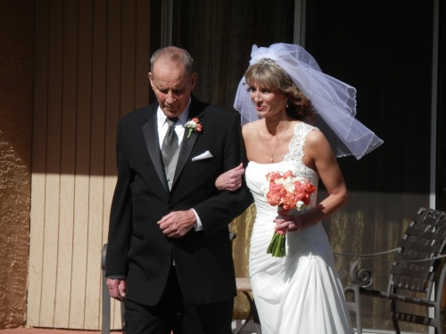 Sandra was stunning in her elegant wedding gown.