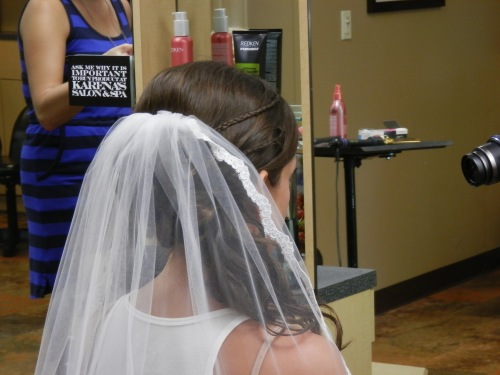 Jennifer's Hair Do with Wedding Veil