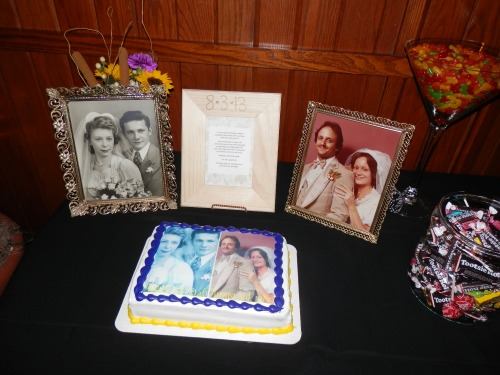Custom Cake with wedding photographs of Jennifer's Parents and Grandparent's weddings.