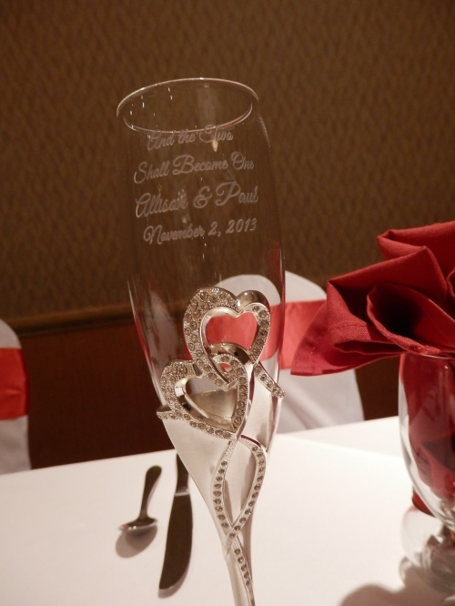 Champagne Glass Etched with Wedding Date