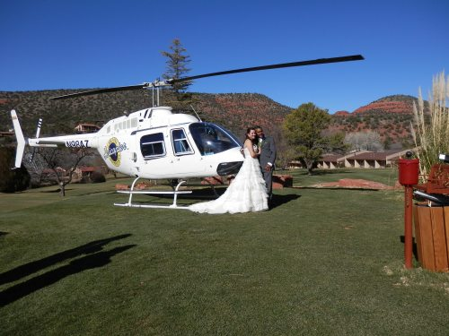 Arizona Helicopter with Bridal Couple on the Golf Course