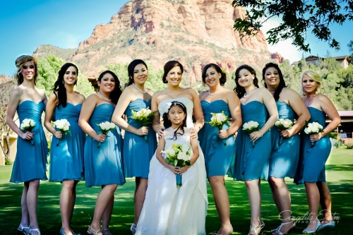 Raquel with her Flower Girl and Bridesmaids