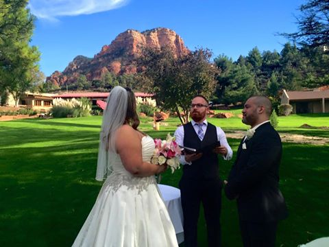 Red Rock Back Drop for Elizabeth and Quentin's Wedding