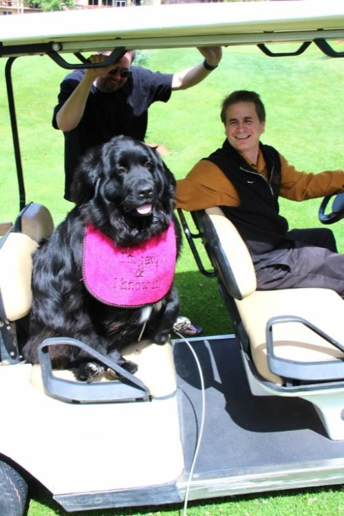 Emma Getting a Ride to the Golf Course